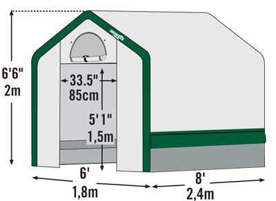Габаритные размеры теплицы Greenhouse 1.8х2.4