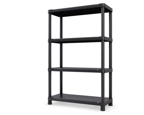 Стеллаж 80x143x40 см, 4 полки, пластик, цвет чёрный