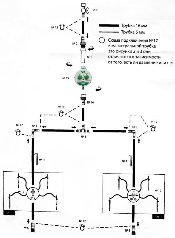Схема подключения системы полива Green Helper GA-023