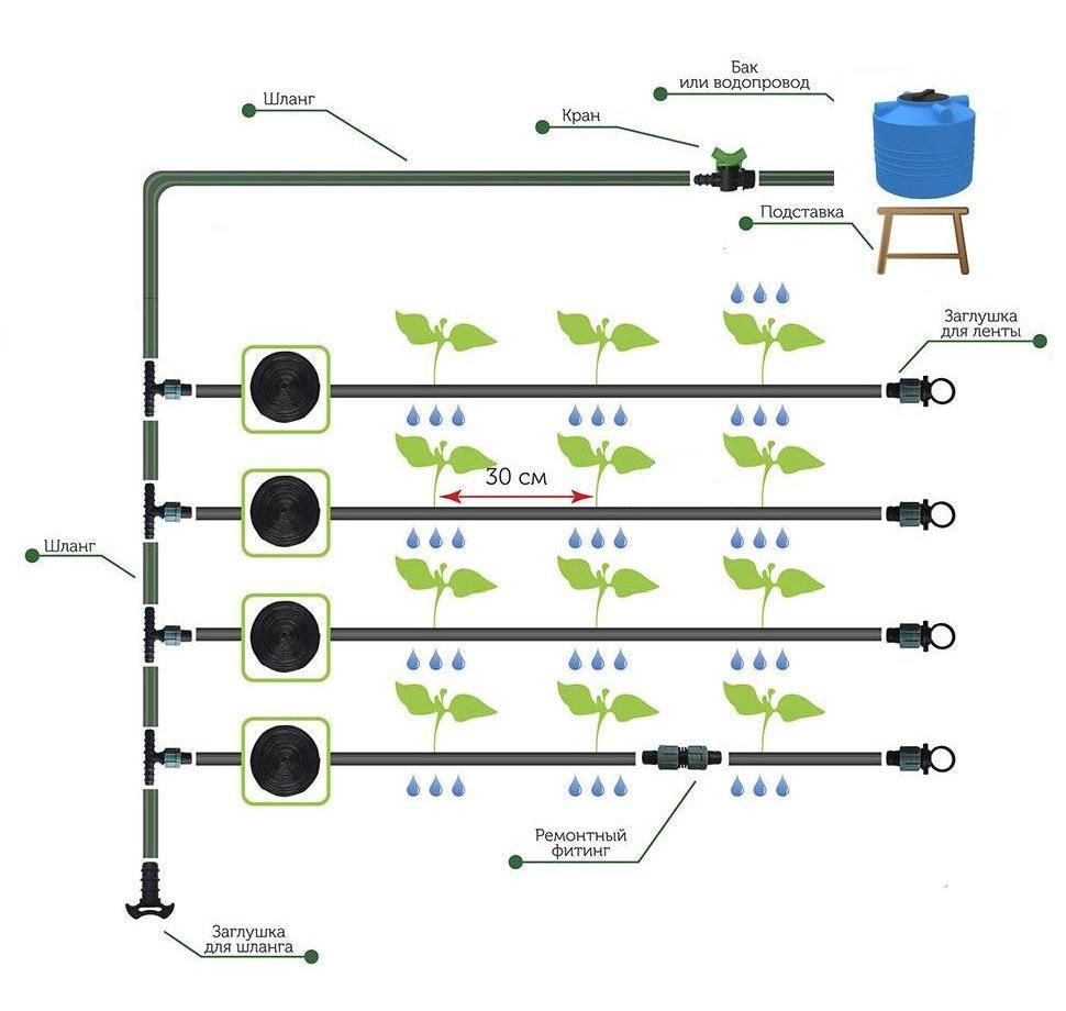 Схема установки капельной ленты